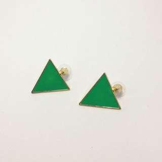 「二手」綠油油卯釘耳環