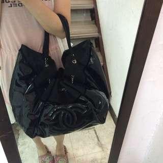 Chanel 黑色 漆皮 空氣 媽媽 包
