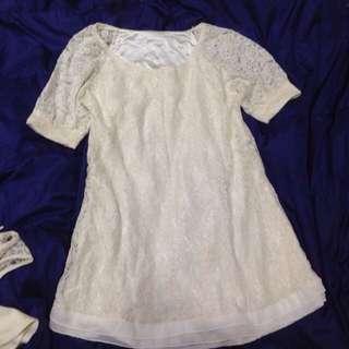 白色蕾絲短袖長版衣洋裝