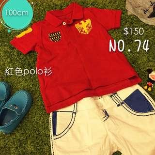 (二手)紅色男童polo 衫