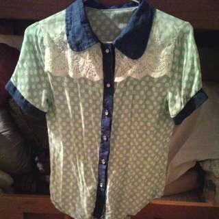 <免運>蕾絲藍綠點點襯衫