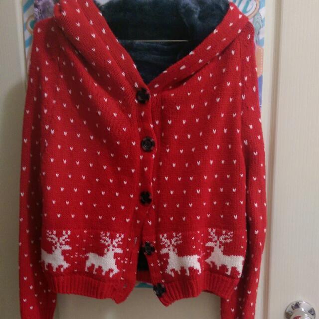紅麋鹿編織毛衣外套✨