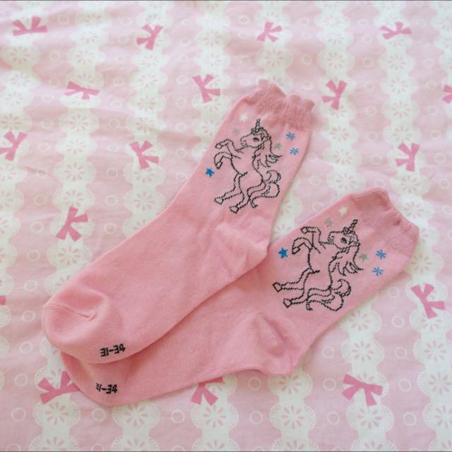 實拍現貨!日本原宿獨角獸短襪