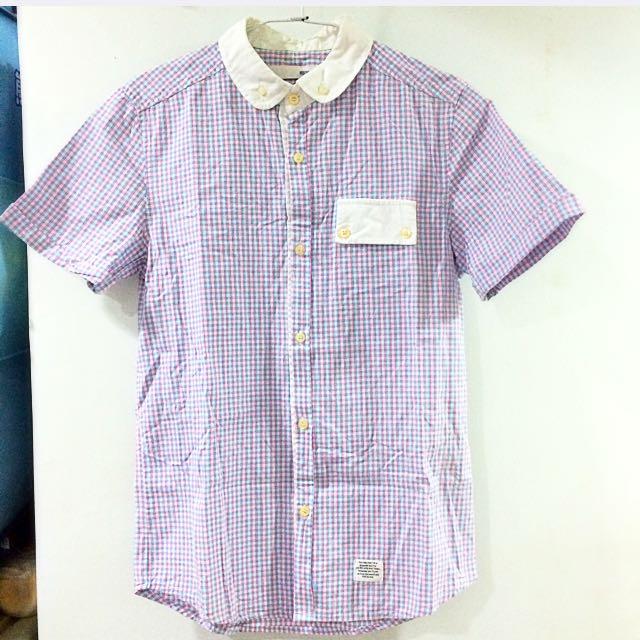 粉藍紅細格子學院風襯衫