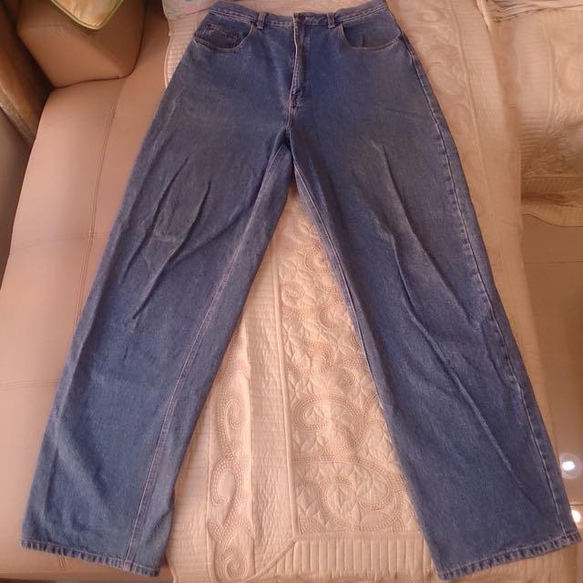 二手極新皮爾卡登寬版牛仔褲 重磅 約36腰