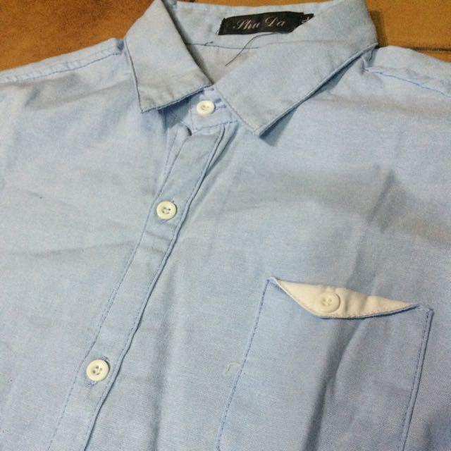 藍色襯衫 XL 版小 肩40 長72 寬45