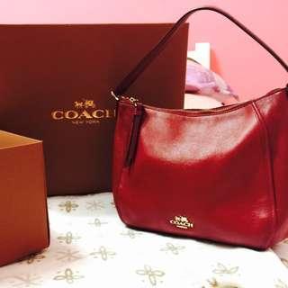 Coach牛皮金標紅色手提包