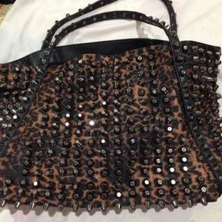 Preloved Authentic Nose Studded Leopard Bag
