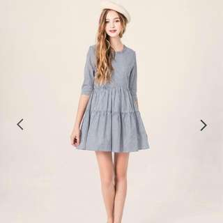 原價$590▪全新Pazzo甜美氣質荷葉領直條紋洋裝裙