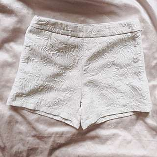 High Waisted Embossed White Tailored Shorts