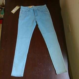 (全新)淺藍 鉛筆褲  L