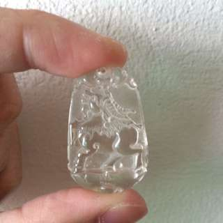 Goat Carved Pendant ( White Crystal)