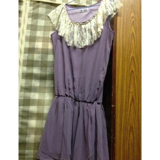 蕾絲拼接雪紡紫色洋裝!適合S
