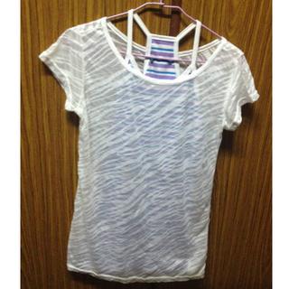 條紋彩色背心+白罩衫