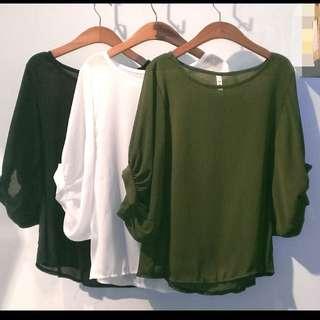 全新 韓版寬鬆百搭素紡紗衣  含運350