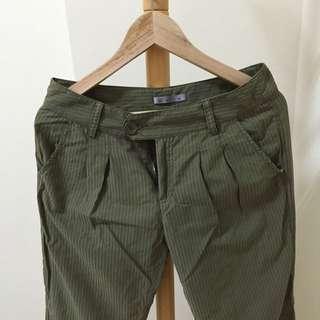 軍綠可捲長褲