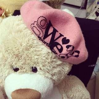 韓國可愛毛球粉色貝蕾帽