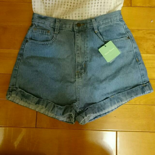 牛仔短褲(復古藍)