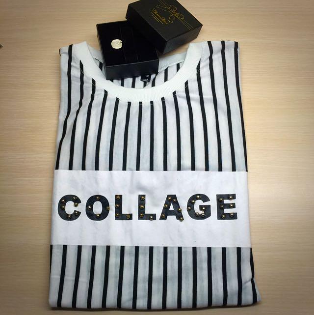 直條紋字母長版衣