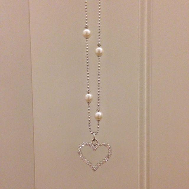 珍珠 水鑽 愛心項鍊