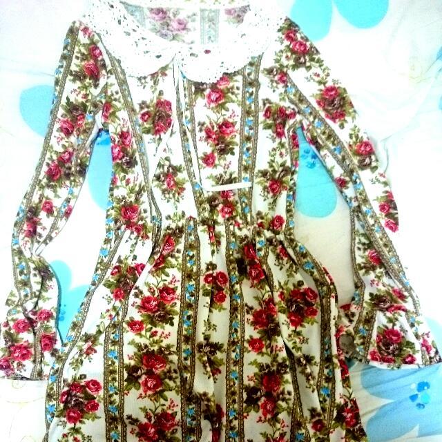 日本原宿帶回 優雅玫瑰英倫風 長袖洋裝
