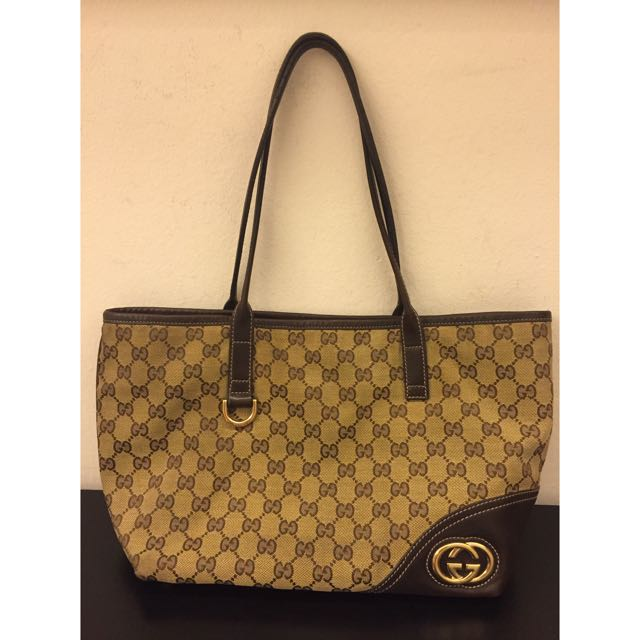2187e5c15d3f Authentic Gucci Tote Bag Neverfull Style (Small Size), Luxury on ...