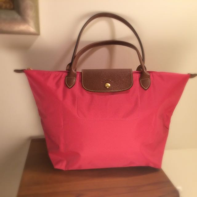 Longchamp 長把手尼龍 全新桃紅色
