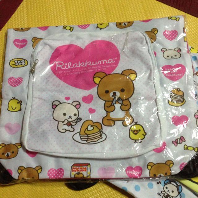 Rilakkuma拉拉熊束口袋雙層背包 全新 粉色