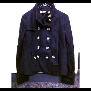 Military Style Wool Blend Winter Coat