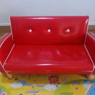 PRELOVED USED CHEAP CHILD SOFA RED ELEGANT GOOD CONDITION