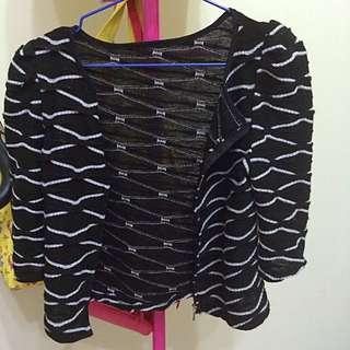 黑色格紋外搭小外套(稍彈性)
