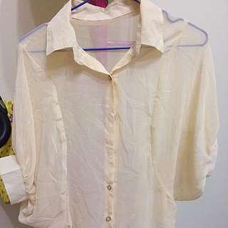 韓貨 雪紡襯衫(米色)