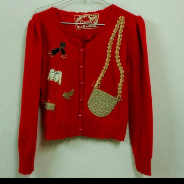 (全新)歐洲品牌紅色女孩珠寶盒毛衣