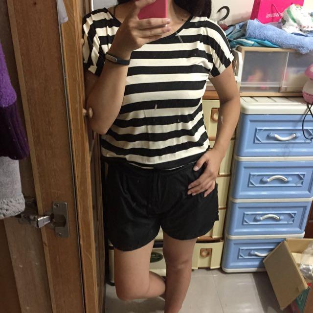 黑白條紋連身褲裝(全新)