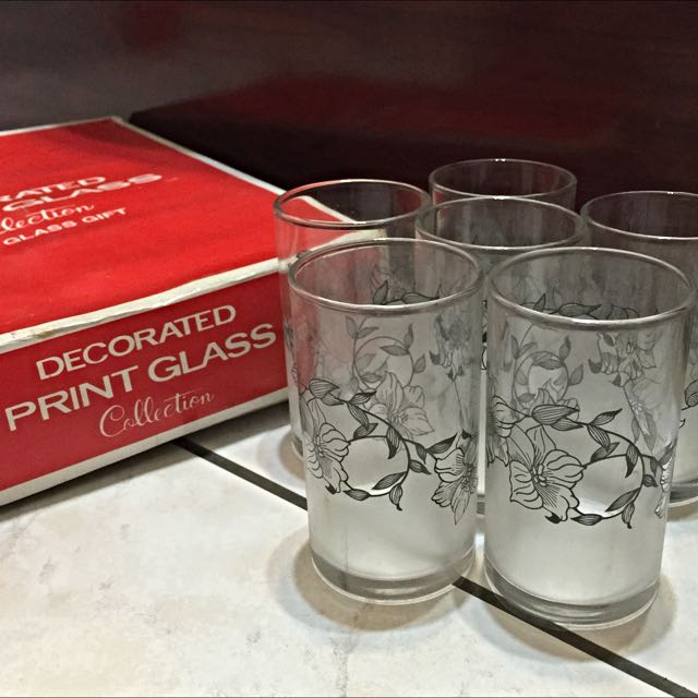 [降]全新 花朵噴紗玻璃杯