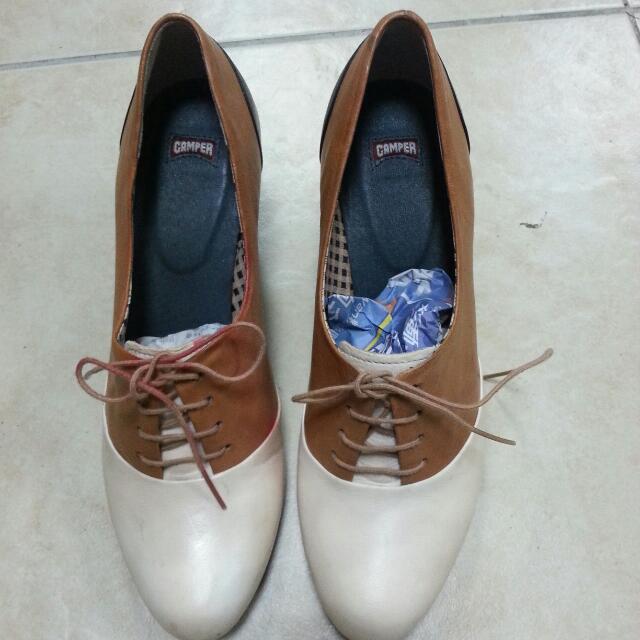 CAMPER雙色真皮拼接高跟鞋