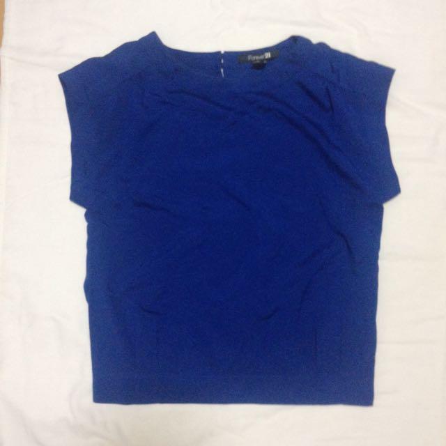 Forever 21 寶藍雪紡罩衫