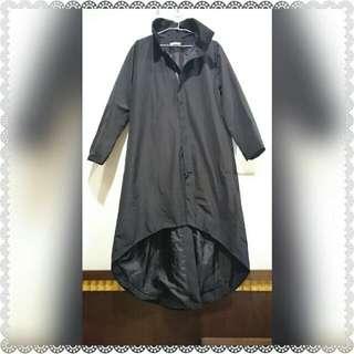 (保留中)你能駕馭它嗎?超長版街頭時尚防水黑色外套