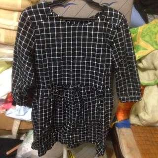 韓版 黑白格子裙(200含運)