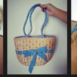 夏日海攤 野餐 天空藍格紋 編織包