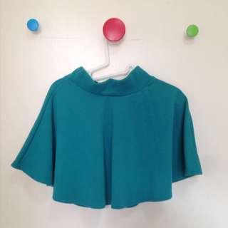 全新-藍綠色復古太陽裙圓裙短裙高腰裙