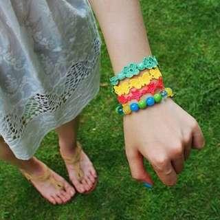 全新-螢光糖果色繽紛編織花朵星星愛心蝴蝶圓圈圈十字架綁帶手鍊