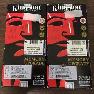 Kingston 金士頓 DDR3 1066 4G * 2 = 8G 記憶體