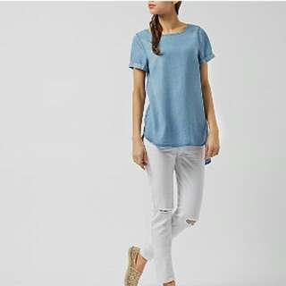 New Look Light Blue Denim Dip-hem Top
