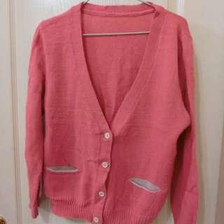 桃紅撞色針織外套