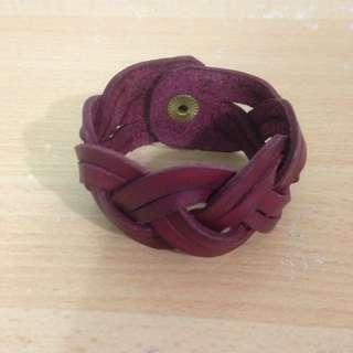 酒紅色 手工 皮手環(含運)