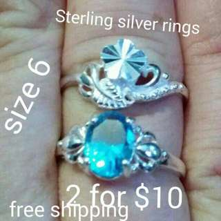 2 Sterling silver Rings