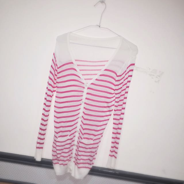 桃紅條紋針織外套