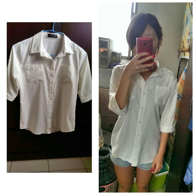 五分袖白襯衫