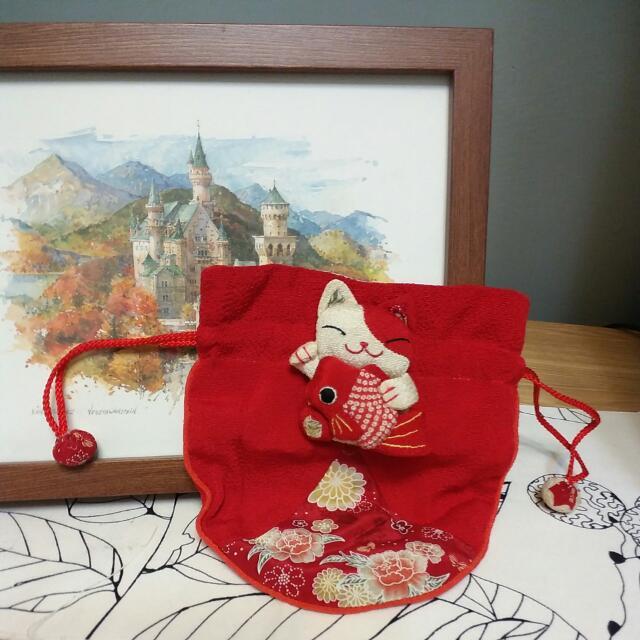 京都納福貓咪錦囊小物包